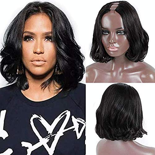 Body Wave 1X4 U Part Wigs with Combs Remy Human Hair Wigs for Black Women Short Human Hair Wigs 130% Density Small Cap 12'