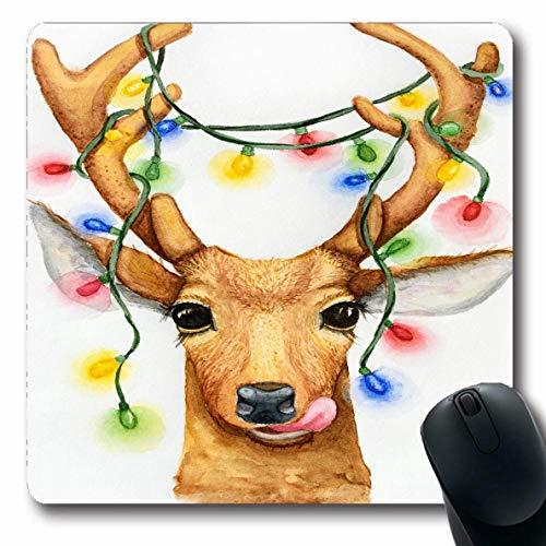 Egoa Alfombrillaratón Navidad Ciervo Felicidad Guirnalda Acuarela Animal Dibujo Pintura Animales Fauna Vacaciones Nuevo Alfombrilla Oblonga Durable Antideslizante 25X30Cm Alfombrilla D