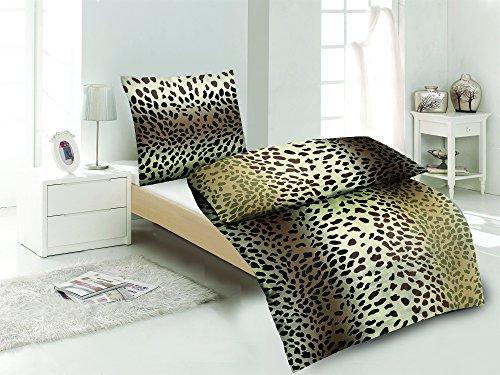 Sommer-, hauchdünne, kühlende Microfaser Bettwäsche braun, Animal Print 1x 135x200 Bettbezug + 1x 80x80 Kissenbezug mit Reißverschluss