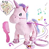 Electric Unicorn Pet Kids Leash Plush Pink Wings Stuffed Animal Toy,Sing Song Walk Twisting Super Cute Ass Unicorn Child Girl Baby Accompany Sleeping Animal Soft Toys Gift