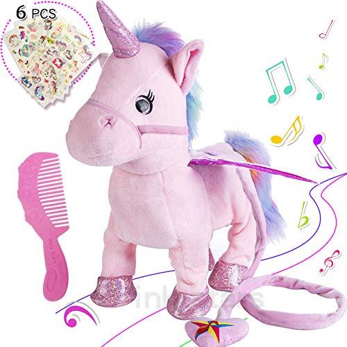 Electric Unicorn Pet Kids Leash Plush Pink Wings Stuffed Animal Toy,Sing Song Walk Twisting Super Cute Ass Unicorn Child Girl Baby Accompany Sleeping Animal Soft Toys Gift