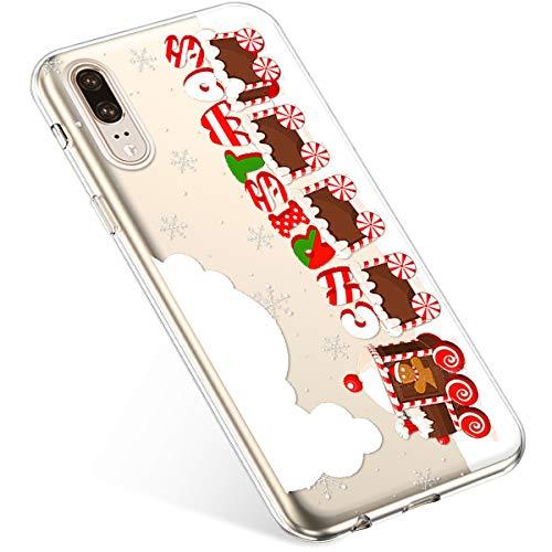 Uposao Kompatibel mit Handyhülle Weihnachten Huawei P20 TPU Silikon Schutzhülle Weich Transparent Kristall Klar Dünn Handyhülle Backcover TPU Bumper Case Handytasche,Zug