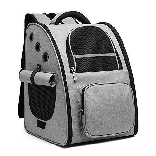 DZSF Pet Cat Backpack Portable Outdoor Pet Cat Travel Bag Mesh Breathable Bag Pet Outing Carry Casual Dog Kitten Outdoor Backpack,Gray