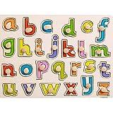 DishyKooker Puzzle pedagógico de madera con diseño de alfabeto, números, animales, clavos, rompecabezas pedagógico, juguete para niños, con capacidad cognitiva