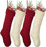 YQing 4 Piezas Calcetin Navidad Año Nuevo Medias Decoración, 48cm Medias Navideñas Adorno de Punto de Calcetin Navidad para Decoración de Temporada de Vacaciones en Familia