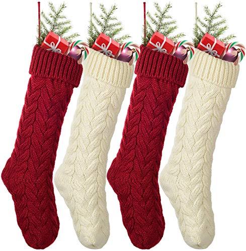 YQing 4 Pezzi Calze di Natale, 48cm Calze della Befana Grandi lavorate a Maglia, Calza di Natale Calze per Regali e Dolcetti, Sacchetto Porta Caramelle Natalizi Decorazioni