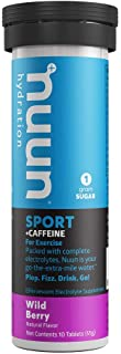 Nuun Sport + Caffeine: Electrolyte Tablets, Effervescent Hydration Supplement with caffeine, Wild Berry, 1 Tube (10 servings), Sports Drink Replenishment of Essential Electrolytes Lost Through Sweat