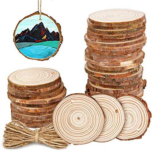 Colovis 100Pcs Natural Wood Slices,2.4-2.8 Inches Craft Wood Kit Unfinished Wooden Ornaments Predrilled with Holes for Crafts DIY Holiday Wedding Party Home Decor
