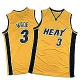 PQMW Camiseta térmica # 3 Wade Jersey, 2021, nueva edición extra amarilla de baloncesto, ropa deportiva para hombre, malla transpirable, talla L (75 ~ 85 kg)