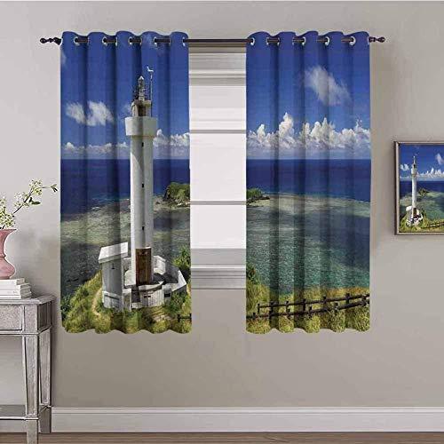 LucaSng Cortinas de Opacas - Azul Cielo Playa Faro - 234x230 cm - para Sala Cuarto Comedor Salon Cocina Habitación - 3D Impresión Digital con Ojales Aislamiento Térmico Cortinas