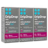 dehydration pack - DripDrop ORS – Patented Electrolyte Powder for Dehydration Relief Fast - For Workout, Hangover, Illness, Sweating & Travel Recovery - Berry - 8 x 10g  Servings, Pack of 3