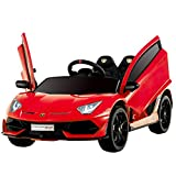 Uenjoy 12V Kids Electric Ride On Car Lamborghini Aventador SVJ Motorized Vehicles with Remote Control, Battery Powered, LED Lights, Wheels Suspension, Music, Horn, Compatible with Lamborghini, Red