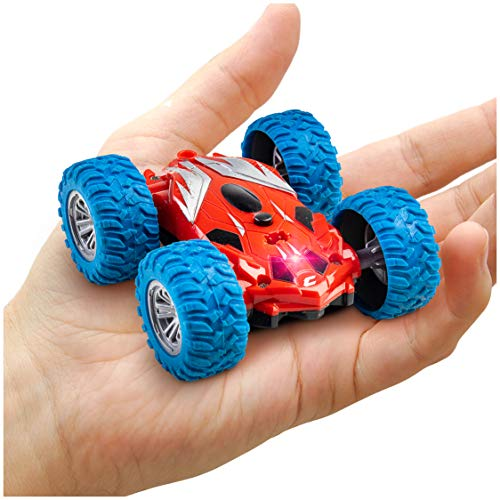 Power Your Fun Cyclone Mini RC Car for Kids - Double Sided Fast Mini Stunt Toy Car, Remote Control Car with LEDs, All Terrain Rubber Tires for 360 Flips, Spins, 2.4 GHZ Remote Control, Rechargeable