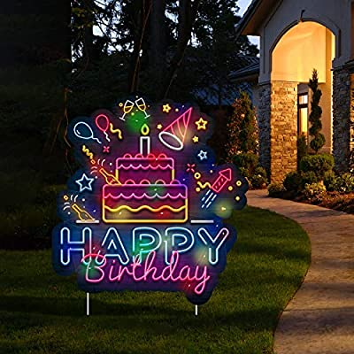 ADXCO Happy Birthday Yard Signs with LED Lights Birthday Cake Yard Signs Outdoor Lawn Yard Decorations with Stakes for Home Party Decorations