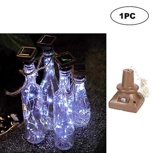 Platz Solar Energy Licht 1M Weinflasche Dekor Kupferdraht Lampen-Schnur Solarleuchten für Garten Außen (Color : White)