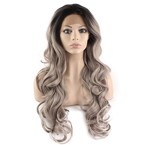 Mxangel Long Wavy Celebrity Half Hand Tied Synthetic Lace Front Black Gray Ombre Wig Two Tone Natural Grey Wig