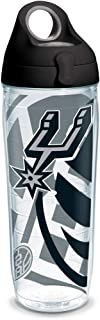 Tervis NBA San Antonio Spurs Insulated Tumbler with Wrap and Black with Gray Lid, 24oz Water Bottle, Clear