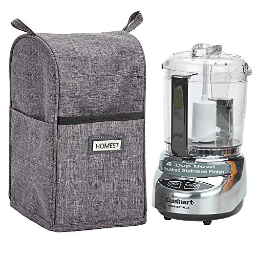 HOMEST Food Processor Dust Cover with Accessory Pockets Compatible with Cuisinart Mini 3-4 Cup, Grey (Dust Cover Only, Patent Pending)