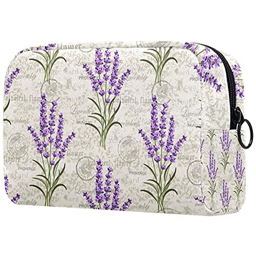 Bolsa de Maquillaje compacta Bolsas de cosméticos de Viaje portátiles para Mujeres niñas Neceser,patrón de Postal Vintage lavandas Florales