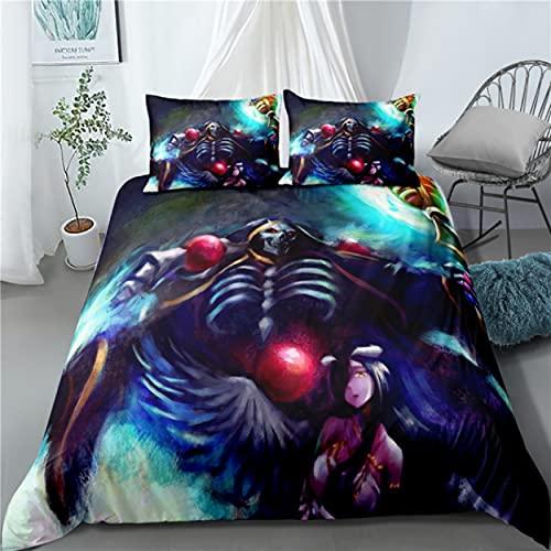 ysldtty 3D Bedding Set Anime Overlord Home Textile Pillow Case 3D Bed Linen Duvet Covers Kids Comforter H3148U 220CM x 240CM With 2 pice pillowcase 50CM x 75CM