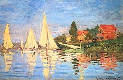 GSP_srl Impresion sobre lienzo Monet, Regata a Argenteuil (1872) 50 x 70 cm sin marco