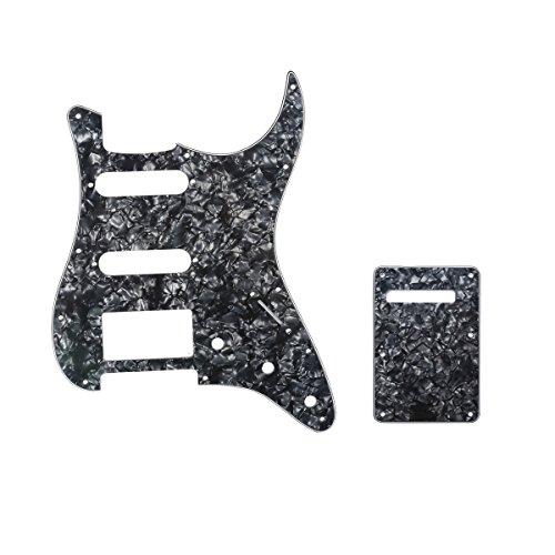 Musiclily Kit Escudo HSS Pickguard Com Tampa Traseira para Guitarra Fender EUA / Mexicana Made Stratocaster Standard Estilo Moderno, 4 Camadas Preto Perolado