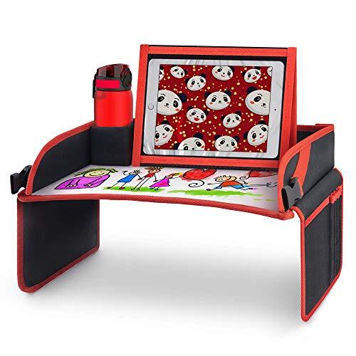 Systemoto Kinder Reisetisch fürs Auto - Multifunktionales Knietablett mit Tablet Halter & Whiteboard Malunterlage - Deutscher Support und Zufriedenheitsgarantie (schwarz)