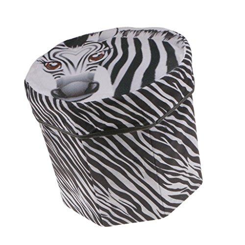 B Blesiya Round Creative Folding Multifunctional Seat Stool Storage Box - Zebra