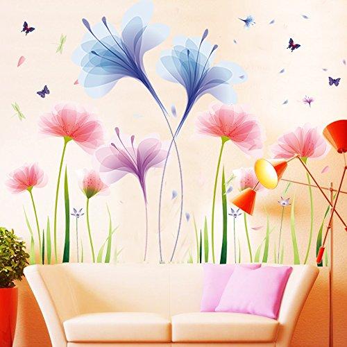 DSSJ Dormitorio Flores cálidas y románticas Sala de Estar TV Fondo Pegatinas de Pared Sala de Bodas Decoración de la Boda Pintura autoadhesiva extraíble