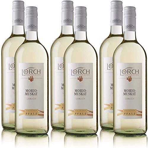 6 Flaschen Lorch Morio-Muskat Pfalz QbA, lieblich, sortenreines Weissweinpaket (6 x 1,0 l)