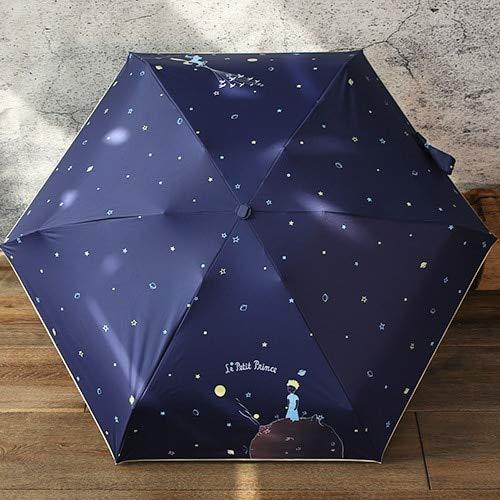 DJMJHG Paraguas de Bolsillo de Calidad para Mujer Paraguas Plegables de Moda soleados y lluviosos el Principito Paraguas para niños Viaje príncipe Azul Marino