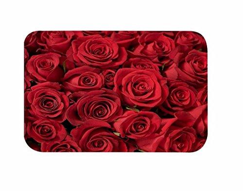 A.Monamour Rojo Romántico Flores Color De Rosa Florales Imprimir Los Fondos De Decoración De La Casa De La Boda De Franela Antideslizantes Alfombras De Piso Felpudos Alfombras De Baño para Bañeras