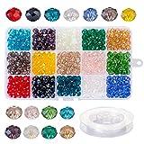 Naler 500 Cuentas Cristal Colores 8mm Mini Cuentas y Abalorios Facetados para DIY Pulseras Collares Bisutería (15 Colores)