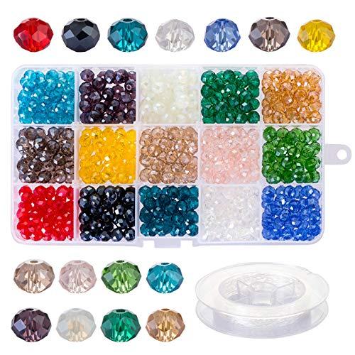 Naler 500 Perline di Vetro di 8MM Sfaccettate Perline Colorate per Fai da Te Mini Perle di Braccialetti, Collane, Bigiotteria, Perline di 15 Colori