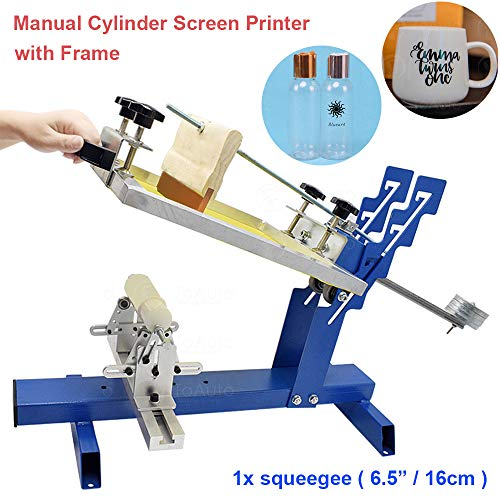 Manual Cylinder Screen Printing Machine Curved Screen Printing Machine Silk Screen Press Printer Kit for Cylinder and Cone Glass Plastic Bottle Logo Pattern Printing, DHL