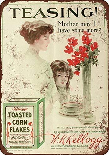 BIGYAK EpochSign 1910 Kellogg's Toasted Mais Flakes 3 Metal Tin Sign 20,5 x 30,5 cm ferro decorazione per casa, cucina, bagno, fattoria, giardino, garage, citazioni ispiratorie decorazione da parete