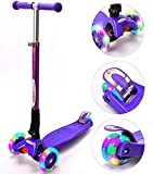 ChromeWheels Scooters for Kids, Deluxe Kick Scooter Foldable 4 Adjustable Height 150lb Weight Limit 3 Wheel, Lean to Steer LED Light Up Wheels, Best Gifts for Girls Boys Age 3-12 Year Old, Purple