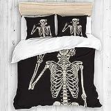 MJIAX Bedding Juego de Funda de Edredón,Rock and Roll Cráneo Gracioso Cráneo Esqueleto Humano,Microfibra NO LLENAR,(Cama 200x200 + Almohada)