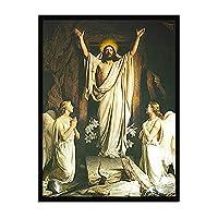 再生キャンバス印刷、寝室のための現代油絵家の装飾ポスター壁アート画像、フレームレス「イエスが復活されました」,45×60cm