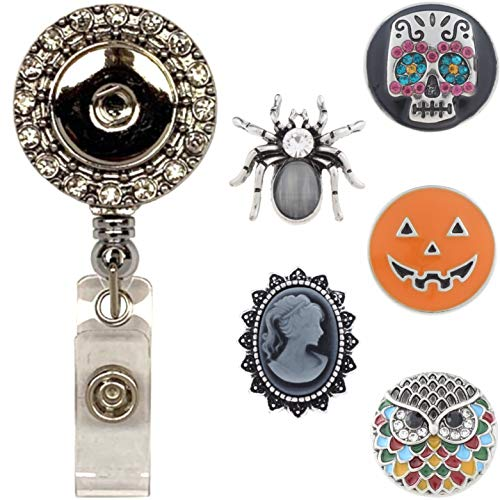 Real Charming Snap Charm Premium Decorative Badge Reel - Retractable ID Holder with Belt Clip and 5 Snap Charms Jewelry Set (DF Halloween)