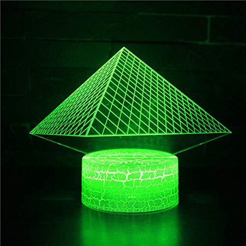 Luz de noche LED 3D para niños y adultos, lámpara de cabecera LED regulable de pirámide, lámpara de noche de 16 colores que cambia con control remoto, regalo de cumpleaños para niños y adultos
