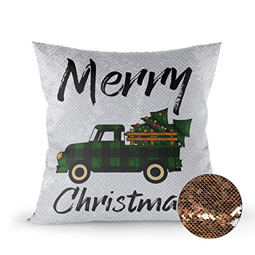zzsunfeel Sequin Magic Throw Pillow Case Merry Christmas Tree Green and Black Check Lattice Truck Flip Satin Pillow Cover Color Changing Fun for Kids - 16 x 16 inches