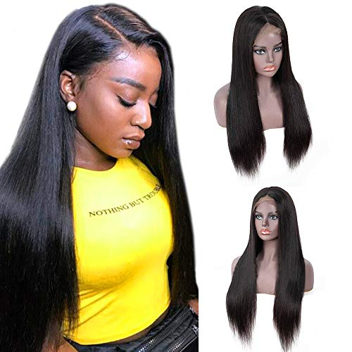 CHEETAHBEAUTY Brazilian Straight Lace Front Wigs Human Hair 13x4 Lace Front Wig For Black Women Pre Plucked with Baby Hair Natural Black 150% Density (24inch)