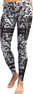 Women Fashion Cosplay Black White Camo with Gun Print Mid Waist Leggings