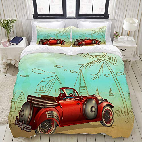 Dodunstyle Duvet Cover,Retro Car Summer Palm Trees Seascape,Bedding Set Ultra Comfy Lightweight Microfiber Sets