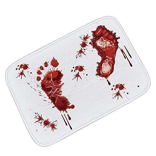 Newin Star 1 stück Blutige Fußabdruck rutschfeste Badematte Bade Teppich Halloween Dekoration 40 x 60 cm
