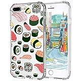 MOSNOVO iPhone 8 Plus Hülle, iPhone 7 Plus Hülle, Niedlich Sushi Muster TPU Bumper mit Hart Plastik Hülle Durchsichtig Schutzhülle Transparent für iPhone 7 Plus/iPhone 8 Plus (Sushi)