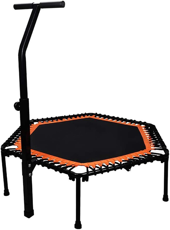 Indoortrampoline Mini-Fitness-Trampolin für Erwachsene mit verstellbarem Handlauf, max. Belastung 200 kg, Indoor-Hüpfausrüstung mit Sicherheitsauflage, 48 Zoll