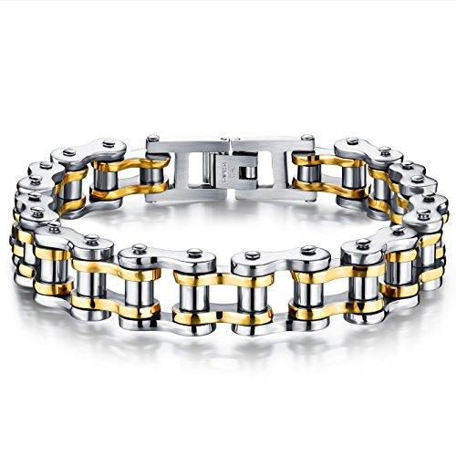 JewelryWe Bracelet Chaine de Vélo - Acier Inoxydable - Homme - Motard Biker - Couleur Argente Or - Bijoux Cadeau