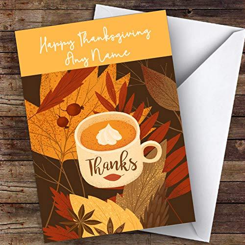 Bladeren en Beker Gepersonaliseerde Happy Thanksgiving Card